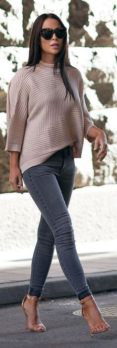 Blush And Grey Street Cool And Stylish Outfit Idea by Johanna Olsson