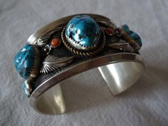 Heavy Signed Vintage NAVAJO Sterling Silver, Turquoise & Coral Cuff BRACELET