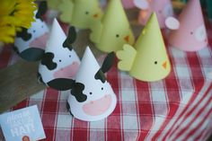 Printable Party Hats - Farm Animal Birthday Party - Cow Hat - Pig Hat - Chick Hat by PrintsForEvents on Etsy https://www.etsy.com/listing/186929936/printable-party-hats-farm-animal