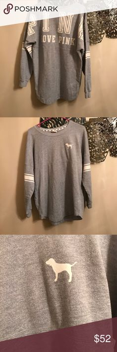 Vs love pink gray crew sweatshirt Like new gray white. Oversized PINK Victoria's Secret Tops Sweatshirts & Hoodies