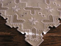 """Beautiful Antique Hardanger Embroidery Ivory Wool Centerpiece Doily 18""""X19"""" picclick.com"""