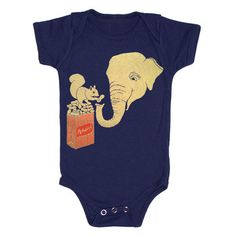 "Onesie Elephant and Squirrel  by Gnome Enterprises (""This vintage-inspired onesie sports an original image by Gnome Enterprises designers. Hand-drawn and -printed on an American Apparel onesie, the Elephant and Squirrel one-piece is made to feel super-soft on your little tot."")"
