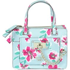 Guess Flower Print Eco-Leather Bag (120 CAD) ❤ liked on Polyvore featuring bags, handbags, shoulder bags, floral purse, blue shoulder bag, metallic handbags, zipper purse and blue purse