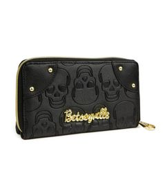 Betsey Johnson Skull Zip Around Wallet
