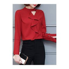 ab54af7d0d0d2 Rotita Red Long Sleeve Round Neck Keyhole Flouncing Shirt (£23) ❤ liked on  Polyvore featuring tops