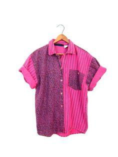 80s Retro Tshirt Neon Pink Black Floral by dirtybirdiesvintage