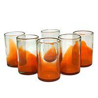 Blown glass juice glasses, 'Orange Splash' (set of 6) available on Novica.com