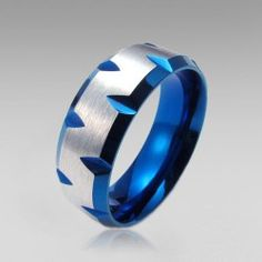 Stainless Steel Blue and Silver Color Ring Band for Men