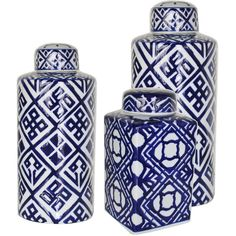 Blue White Geometric Porcelain Jars ($38) ❤ liked on Polyvore featuring home, home decor, blue and white porcelain jars, geometric home decor, blue and white jar, porcelain jar and square jar