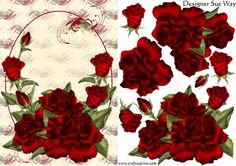 Red Ring of Roses Decoupage on Craftsuprint designed by Sue Way - A beautiful card front of large red roses on a background of plump gold hearts wrapped in red swirls on a cream background. The roses are growing around an oval shape with room above to add the greeting of your choice. Suitable for many occasions including birthday, anniversary or sympathy.  - Now available for download!