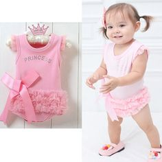 summer romper 2016 wholesale cute baby kids girls princess pink lace romper babygrows 0-24M #Affiliate