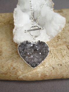 Druzy Heart Necklace Drusy Quartz Sterling by julianneblumlo, $98.00