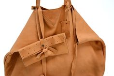 New big bag NILLA color vintage natural - soft leather - with extra Dipla xl clutch inside  www.jeebags.com