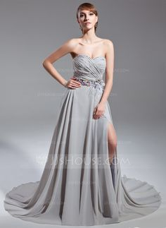 A-Line/Princess Sweetheart Court Train Chiffon Mother of the Bride Dress With Ruffle Beading Feather Flower(s) Split Front (008015098)