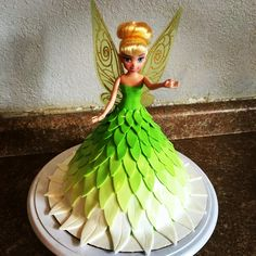 Tinkerbell Doll, Tinkerbell Party, Mini Tortillas, Doll Cake Designs, Doll Birthday Cake, 3rd Birthday, Little Girl Cakes, Quinceanera Cakes, Barbie Cake