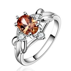 Malruthiia Sterling Silver Plated Rings Cubic Zirconia