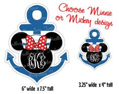 Disney Cruise Monogram Anchor Printable Iron On Transfer Minnie or Mickey Make Shirts Cruise Magnets Fish Extender Gifts Decorate Stateroom Disney Wonder Cruise, Disney Cruise Tips, Disney Vacations, Disney Theme, Disney Fun, Disney Magic, Disney Stuff, Disney Monogram, Anchor Monogram