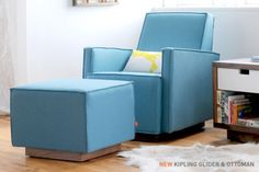 Gus* Kipling Glider & Ottoman - a great look modern glider that fits into a real living space. not just the nursery Glider And Ottoman, Glider Chair, Chair And Ottoman, Sofa Table With Storage, Accent Chairs For Sale, Mid Century Modern Design, Living Room Chairs, Lounge Chairs, Chairs