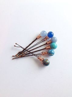 Blue Stone Hair Pins, Wire Wrapped Gemstone Hair Jewelry, Six Beaded Bobby Pins, Boho Chic Wedding Hair Accessory