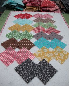 "{Step 2} Bee In My Bonnet: More Row Along Fabric Info... Cut two 3""x3"" squares from 14 fabrics (28 squares total)"