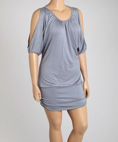 Look what I found on #zulily! Slate Gray Banded Cutout Dress - Plus by Poliana Plus #zulilyfinds