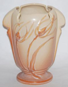 Roseville Pottery Teasel Ivory and Pink Vase 882