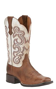 Ariat Quickdraw Women's Sandstorm Brown w/ Distressed White Top Square Toe Western  Boots | Cavender's. Más información