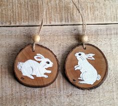 Bunny Ornaments Christmas Ornaments set of 2 by TheChickenStudio
