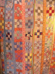 """Vintage Nine-Square Block Quilt Top, 1930s - 50s Cotton & Feedsack Fabric, Hand and Machine Sewn, 68 x 89"""""""