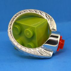Lego Ring  Hand Engraved  Interchangeable Lego  Custom by UBrickIt, $225.00