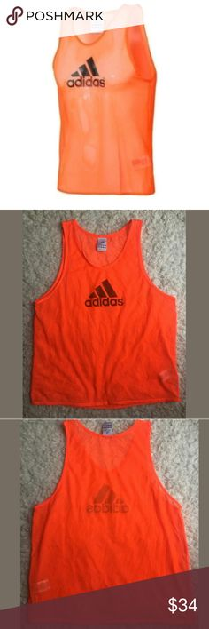 Adidas Tank Top Unisex Medium Sport Athletic Sheer Adidas Tank Top Unisex Medium Sport Athletic Sheer Mesh Neon Orange  Excellent used condition.   21 inches pit to pit.  27 inches long.    LB adidas Tops Tank Tops