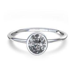 Bezel Set Oval Cut Diamond Ring in 14k White Gold