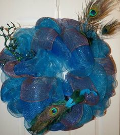 Peacock Deco Mesh Wreath