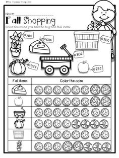 Download free printables at preview. Fall Shopping. Fall Math and Literacy No Prep - First grade. An excellent pack with a lot of addition, subtraction, fact families, place value, shapes, money, time and other math activities and practice