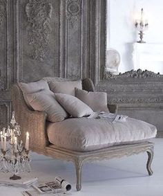 """A chaise with a candelabra next to it- I would be so effing dramatic for no reason at all."""" RUN TO MY CHAISE. French Decor, French Country Decorating, French Furniture, Furniture Design, Furniture Redo, Furniture Ideas, Smart Furniture, Deco Furniture, Refurbished Furniture"""