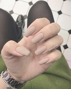 <img> Matte Pearl White Nails provided Nail Care Products Singapore his Nail Care Salon Creve Coeur - Aycrlic Nails, Nude Nails, Hair And Nails, Red Matte Nails, Beige Nails, Brown Nails, Cute Acrylic Nails, Pastel Nails, Acrylic Nails For Fall