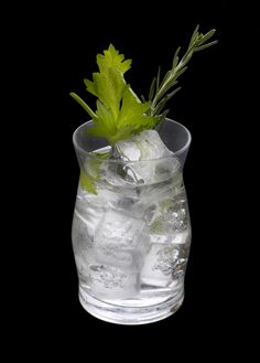 HERBAL G & T 2.0 oz. Bulldog Gin 2 Dashes of Celery Bitters 0.5 oz. Lavender Syrup Rosemary Infused Ice Cubes Topped with Tonic Served in a Highball