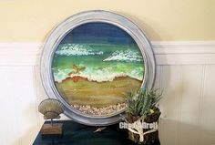 I bought a plastic clock for 3.99 at a thrift store and made into a fun 3D window to the beach.  Thrift stores are full of these old clocks.  My poor husband th…