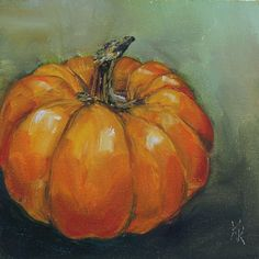 Love this oil painting from UGallery. Pumpkin by Kristine Kainer Painting & Drawing, Simple Oil Painting, Autumn Painting, Autumn Art, Pumpkin Painting, Pumpkin Drawing, Fall Paintings, Paintings Of Food, Painting Portraits