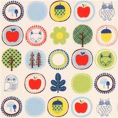 cream cute colorful circle tree apple animal fabric from Japan 2