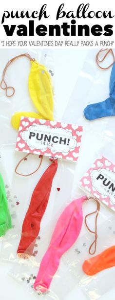 "Punch Balloon Valentines with printable tag that says, ""I hope your Valentines Day really packs a punch"".  A perfect non-candy valentine for kids that is not mushy!"