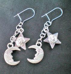 Sun moon star earrings, silver star charm, dangle earrings, silver earrings, witch earrings, goth jewellery, boho earrings, gift for her.
