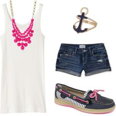 """""""Navy & Pink Sperry Topsiders - Shorts"""" by lucyandlarry on Polyvore"""