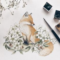 A dash of spring on my studio desk today 🦊 I knew I had to draw hellebores. me and my friend went on a short hike the other day & they… Cute Drawings, Animal Drawings, Cute Fox Drawing, Hase Tattoos, Fox Tattoos, Deer Tattoo, Raven Tattoo, Tattoo Ink, Arm Tattoo