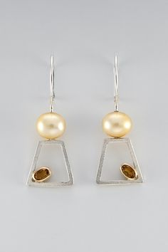 earrings - sterling silver, 18kt yellow gold, cultured pearl, citrine