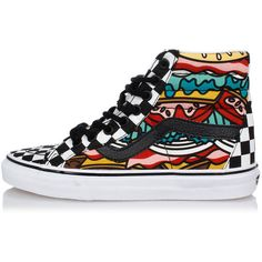 Vans FabricSK8-Hi REISSUE BURGER high top Sneakers ($63) ❤ liked on Polyvore featuring shoes, sneakers, multicolor, colorful shoes, colorful high top sneakers, multicolor shoes, multi color sneakers and hi tops