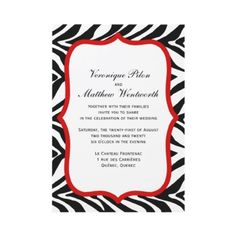 Zebra Print Red White Background Wedding Invite from http://www.zazzle.com/lingerie+party+invitations