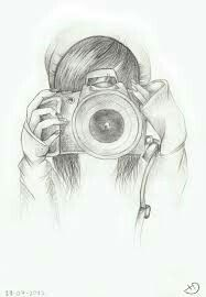 girl with camera and beanie drawing