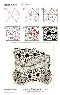 Online instructions for drawing CZT® Jody Genovese's Zentangle® pattern: Patience. Tangle Doodle, Tangle Art, Zen Doodle, Doodle Art, Zentangle Drawings, Doodles Zentangles, Doodle Drawings, How To Zentangle, Doodle Patterns