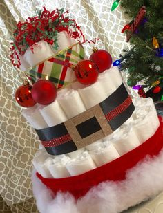 Take 20% off when you place an order!! Santa baby Diaper cake Christmas diaper cake Santa by FineAnDainty